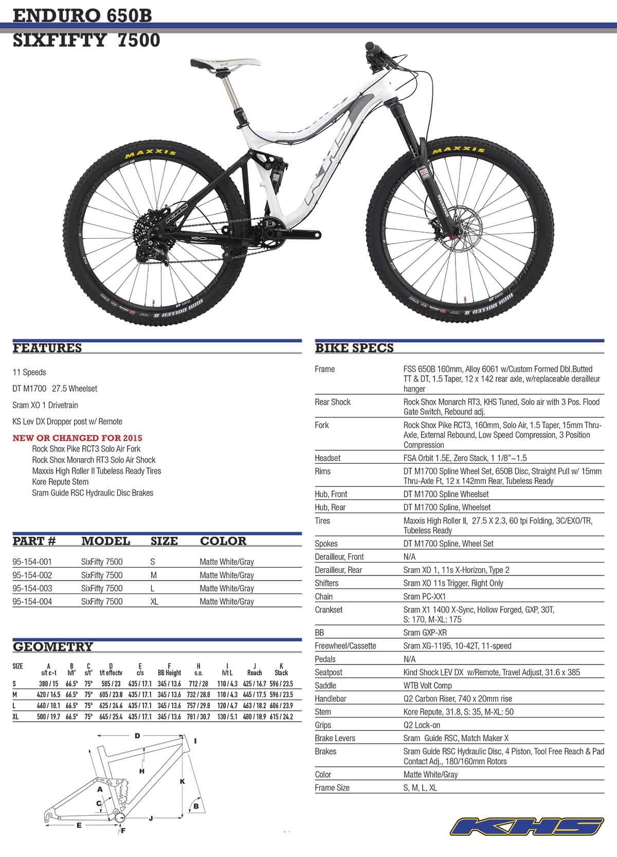 2015 KHS SF 7500 tech info
