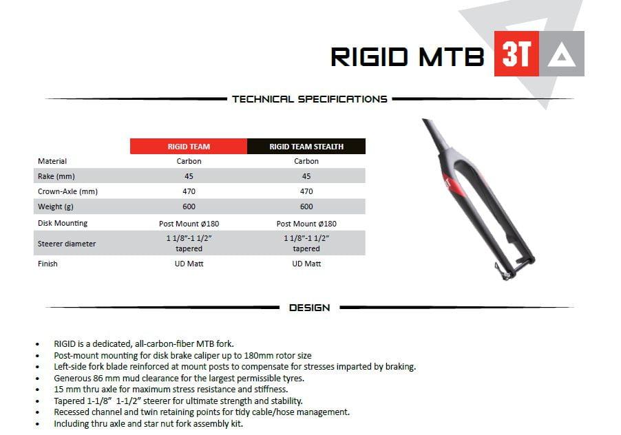 3T Cycling RIGID fork _ tech info