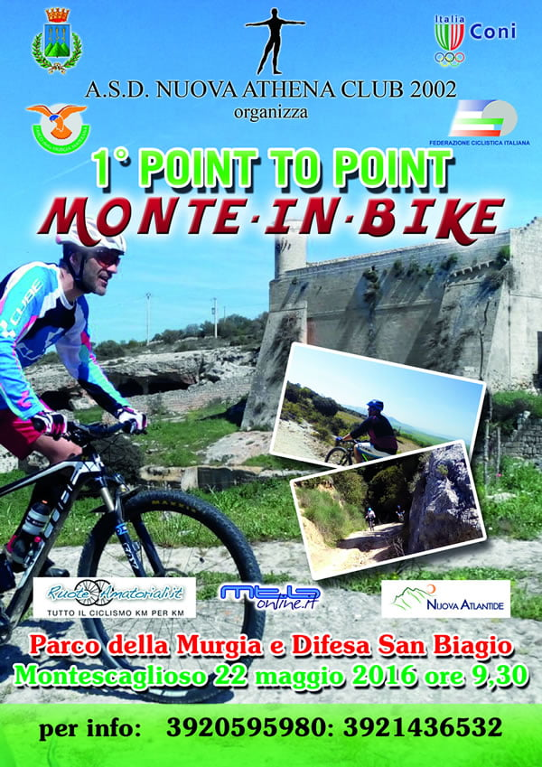 Point to Point Monte in Bike, il 22 maggio di scena l'evento mtb a Montescaglioso