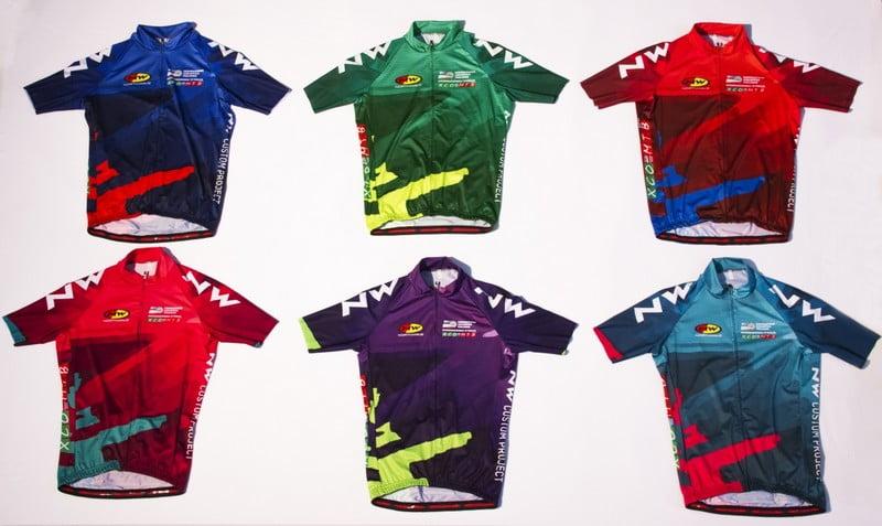 Le maglie di leader degli Internazionali d'Italia Series, realizzate da Northwave. Da sinistra in alto: Uomini Elite, Uomini Under 23, Uomini Juniores, Donne Elite, Donne Under 23, Donne Juniores.