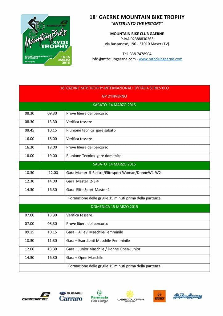 Crono Programma gara Maser