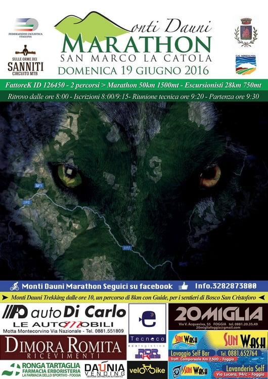 Locandina Monti Dauni Marathon 19062016